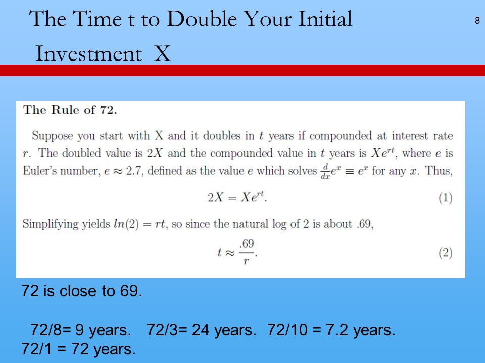 The Time t to Double Your Initial Investment X 8 72 is close to 69.