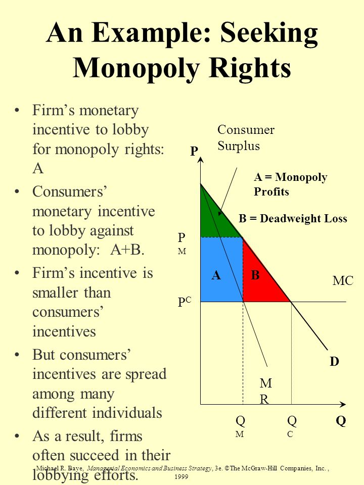 Michael R. Baye, Managerial Economics and Business Strategy, 3e. ©The McGraw-Hill Companies, Inc., 1999 An Example: Seeking Monopoly Rights Firms mone