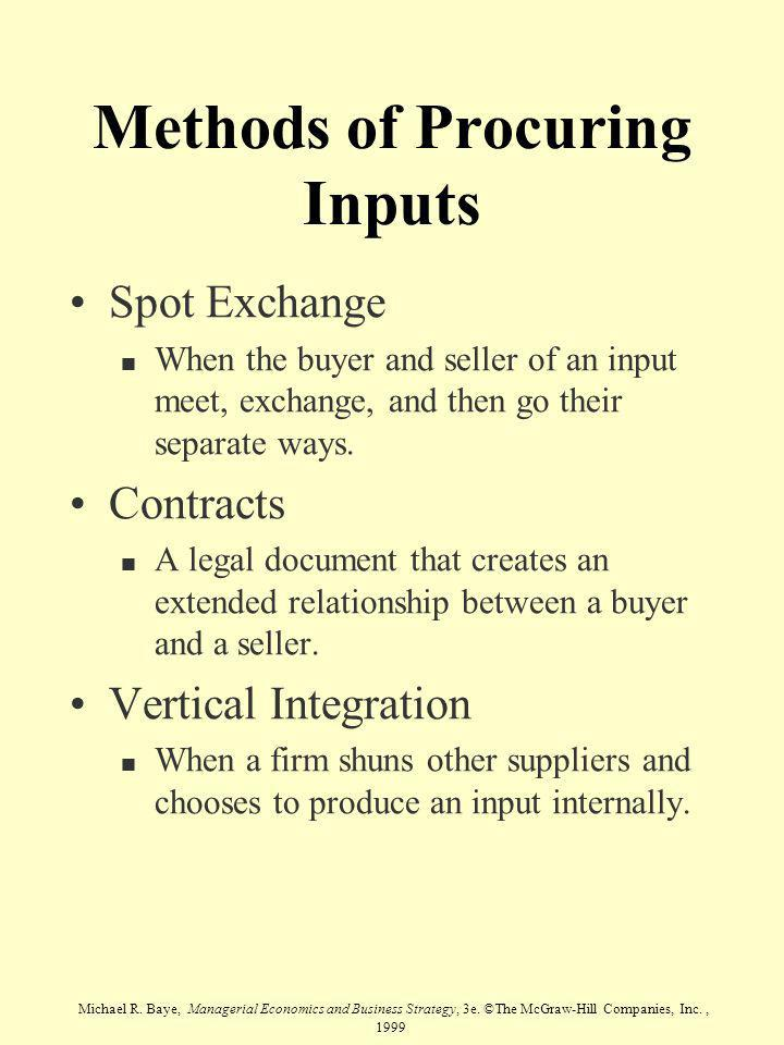 Michael R. Baye, Managerial Economics and Business Strategy, 3e. ©The McGraw-Hill Companies, Inc., 1999 Methods of Procuring Inputs Spot Exchange n Wh