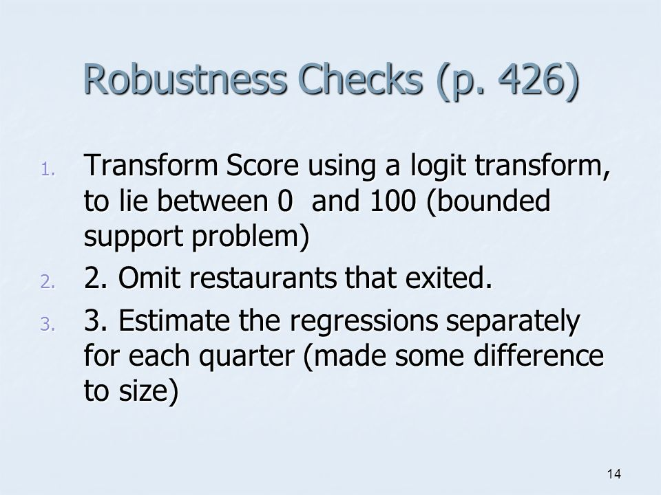 14 Robustness Checks (p. 426) 1.