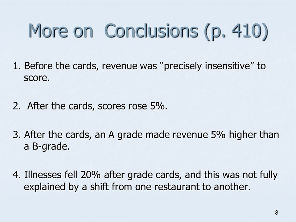 8 More on Conclusions (p. 410) 1. Before the cards, revenue was precisely insensitive to score.