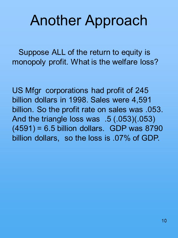10 Another Approach Suppose ALL of the return to equity is monopoly profit. What is the welfare loss? US Mfgr corporations had profit of 245 billion d