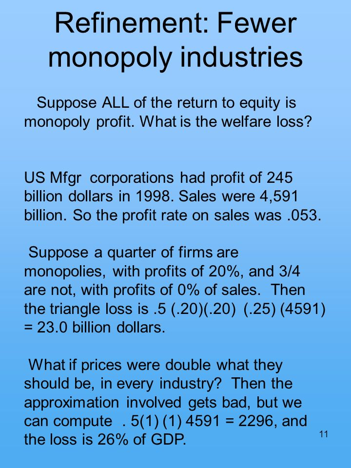 11 Refinement: Fewer monopoly industries Suppose ALL of the return to equity is monopoly profit. What is the welfare loss? US Mfgr corporations had pr