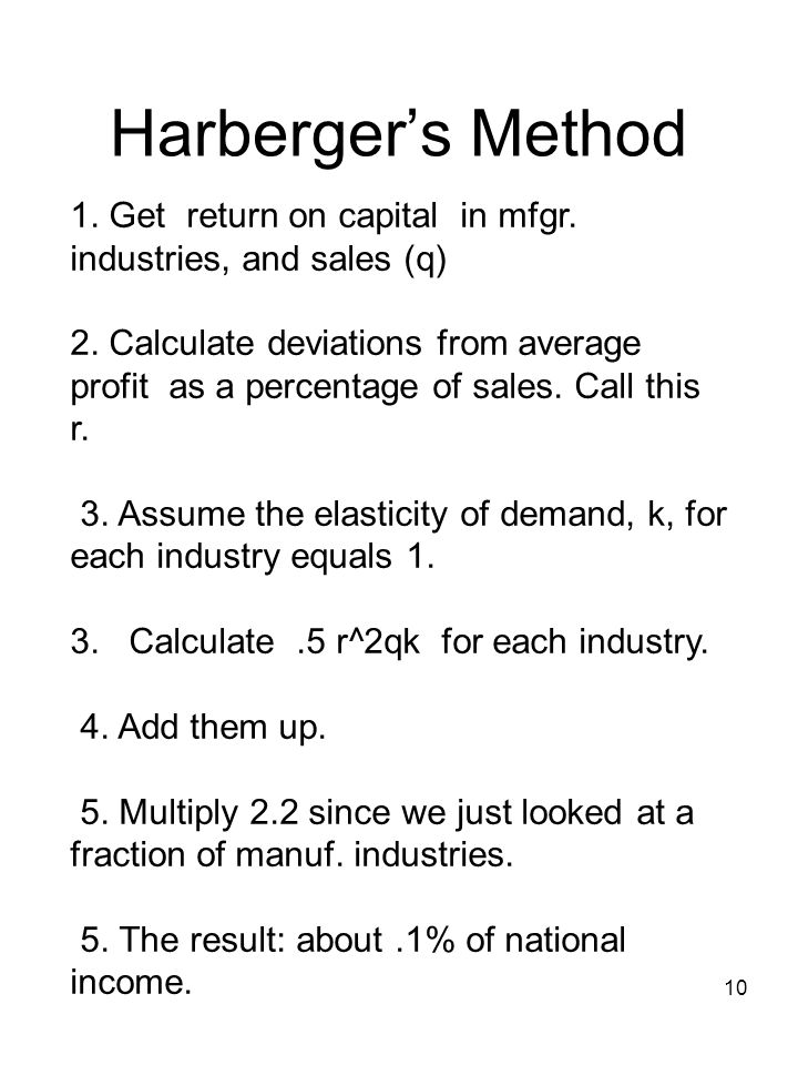10 Harbergers Method 1. Get return on capital in mfgr.