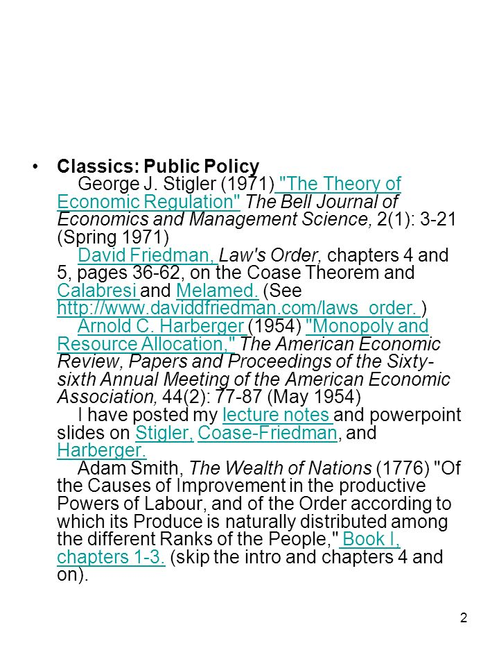 2 Classics: Public Policy George J.