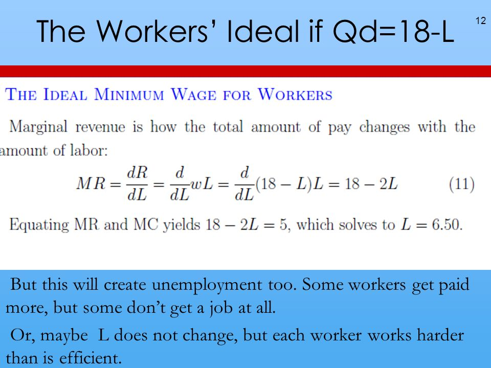 The Workers Ideal if Qd=18-L But this will create unemployment too.