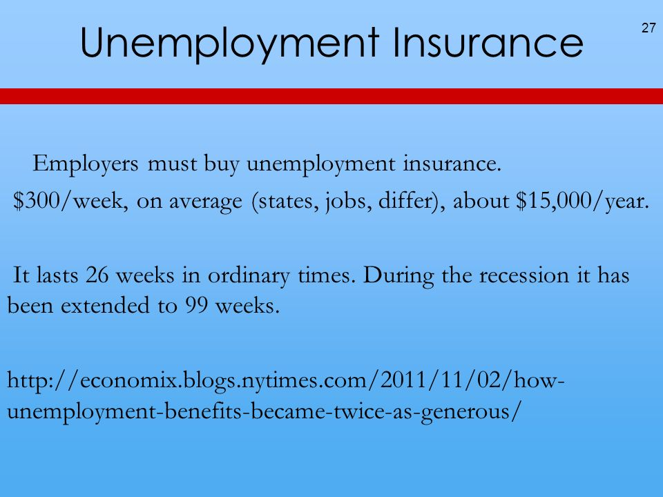 Unemployment Insurance 27 Employers must buy unemployment insurance.