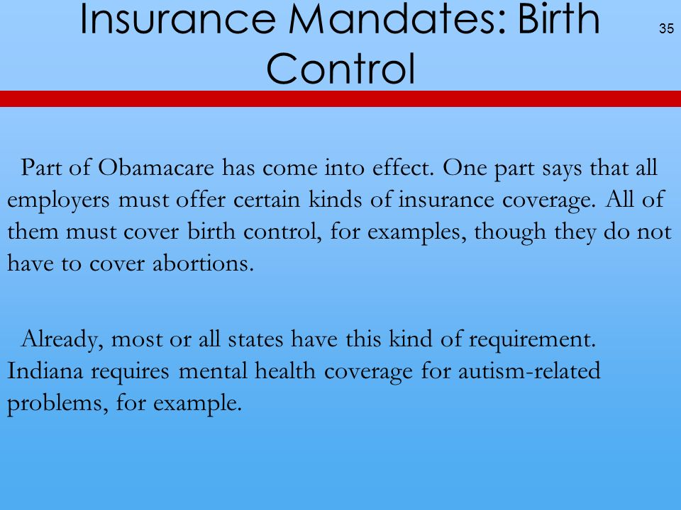 Insurance Mandates: Birth Control 35 Part of Obamacare has come into effect.