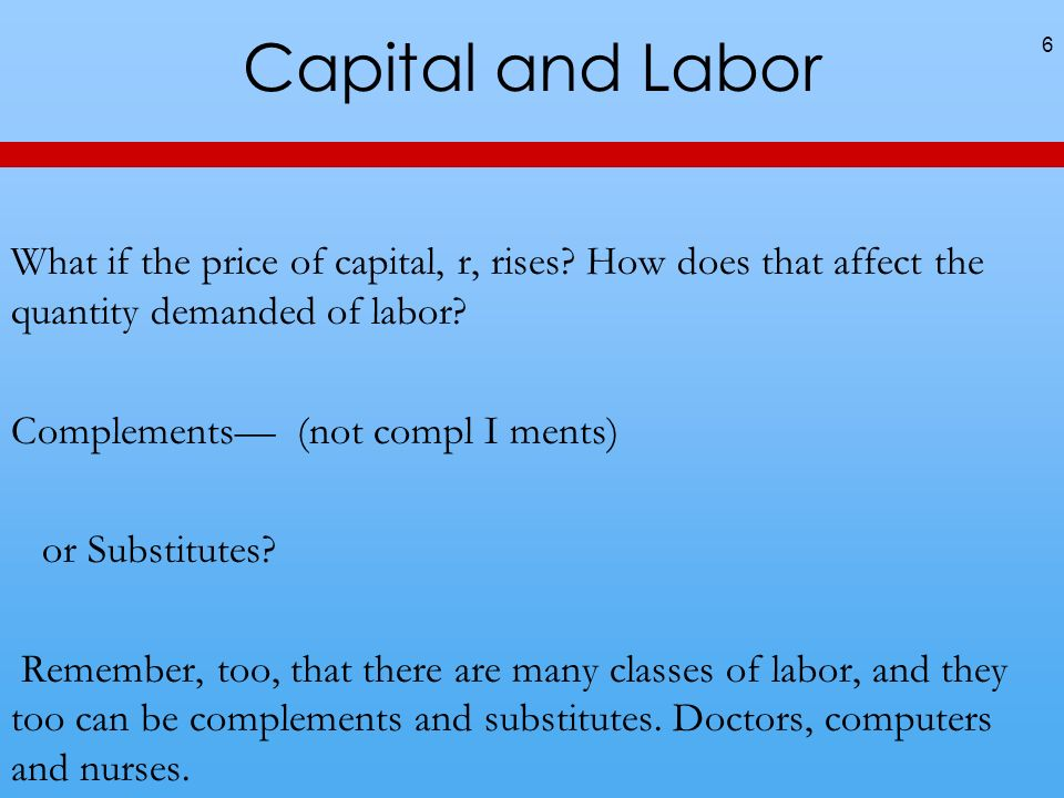 Capital and Labor What if the price of capital, r, rises.