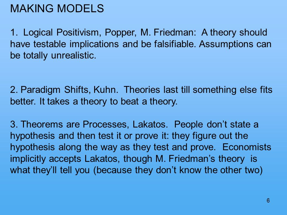6 MAKING MODELS 1. Logical Positivism, Popper, M.