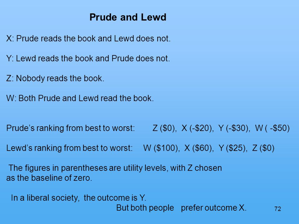 72 Prude and Lewd X: Prude reads the book and Lewd does not.