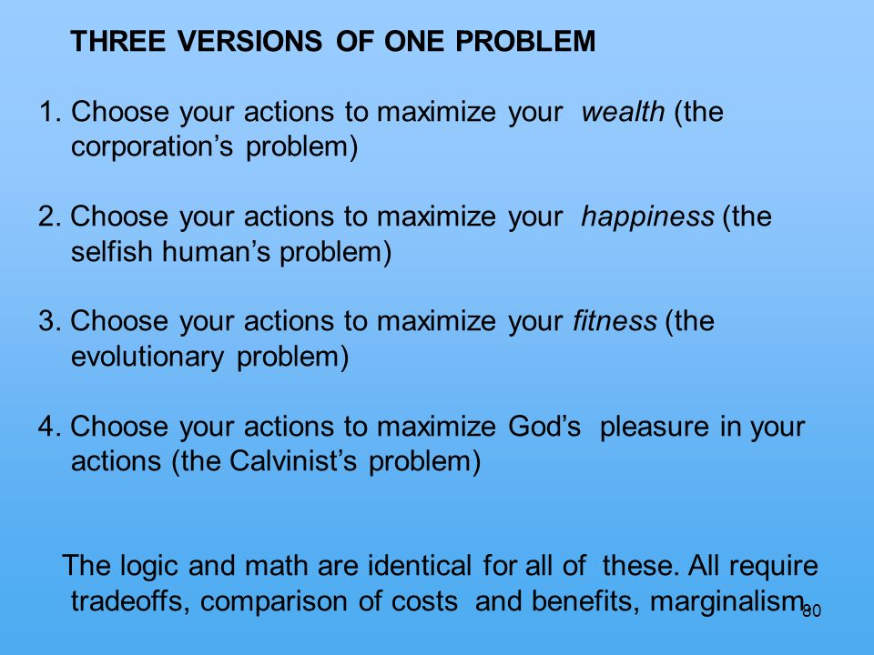 80 THREE VERSIONS OF ONE PROBLEM 1.Choose your actions to maximize your wealth (the corporations problem) 2.