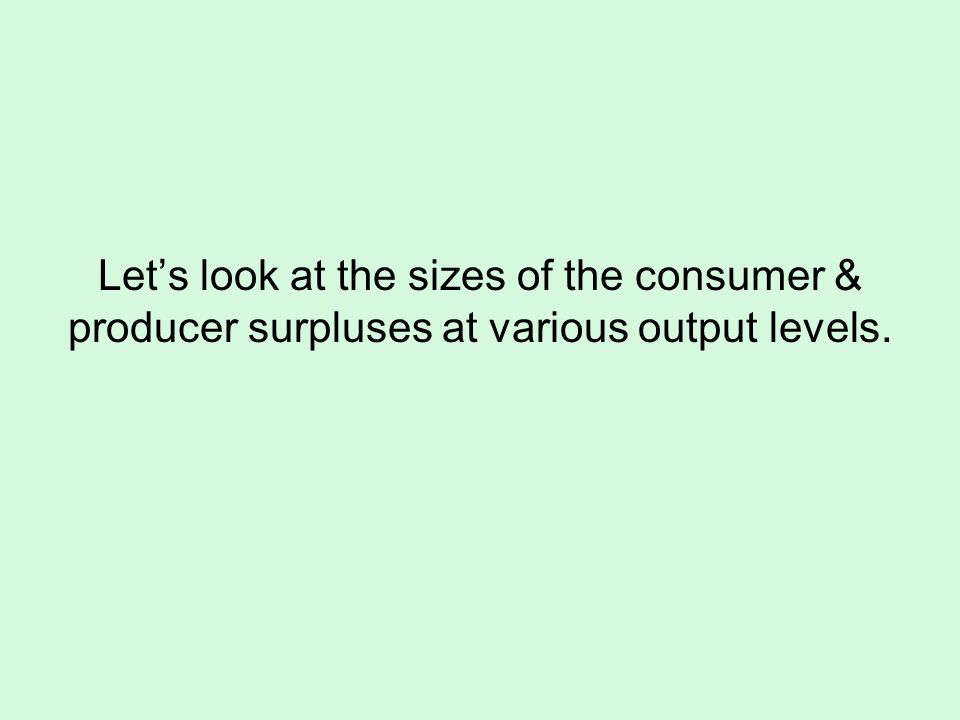 Lets look at the sizes of the consumer & producer surpluses at various output levels.