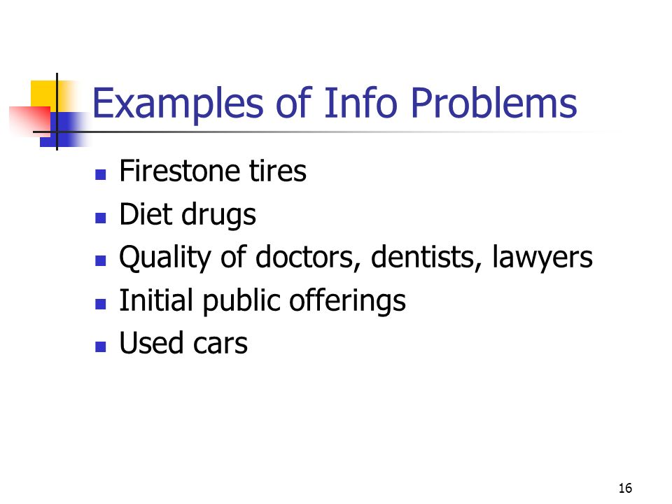 16 Examples of Info Problems Firestone tires Diet drugs Quality of doctors, dentists, lawyers Initial public offerings Used cars