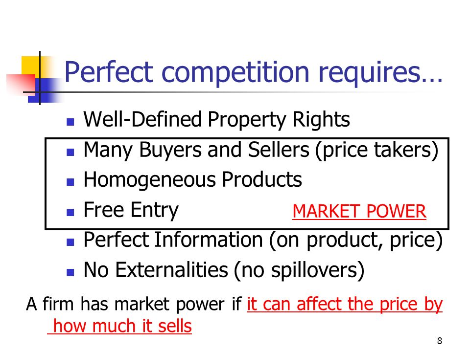 8 Perfect competition requires… Well-Defined Property Rights Many Buyers and Sellers (price takers) Homogeneous Products Free Entry Perfect Informatio