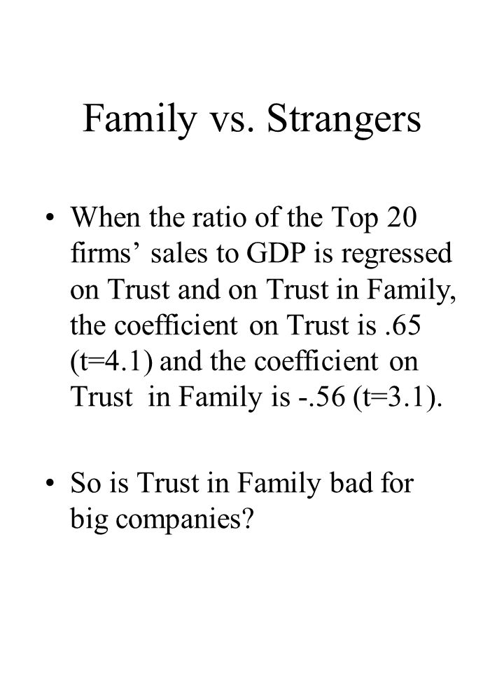 Family vs. Strangers When the ratio of the Top 20 firms sales to GDP is regressed on Trust and on Trust in Family, the coefficient on Trust is.65 (t=4