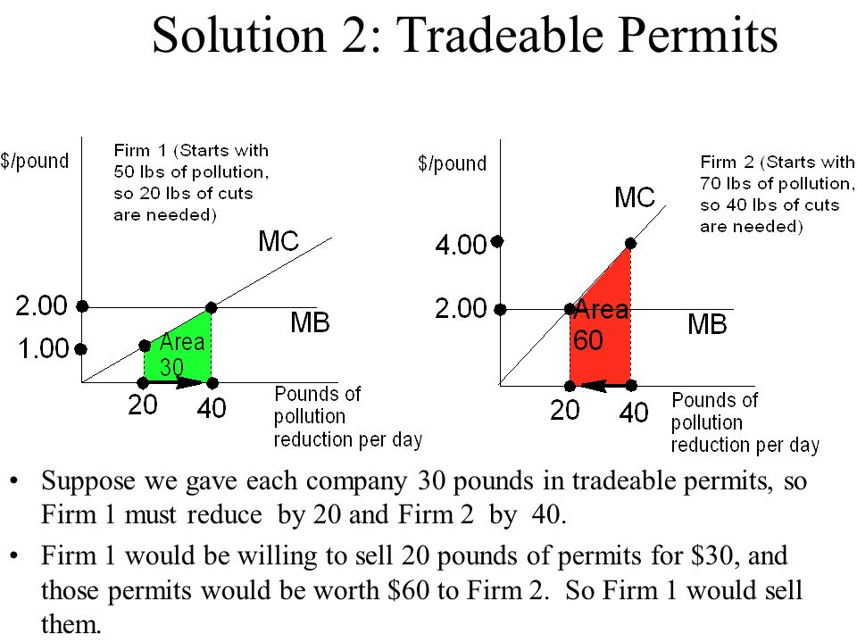 Solution 2: Tradeable Permits Suppose we gave each company 30 pounds in tradeable permits, so Firm 1 must reduce by 20 and Firm 2 by 40. Firm 1 would