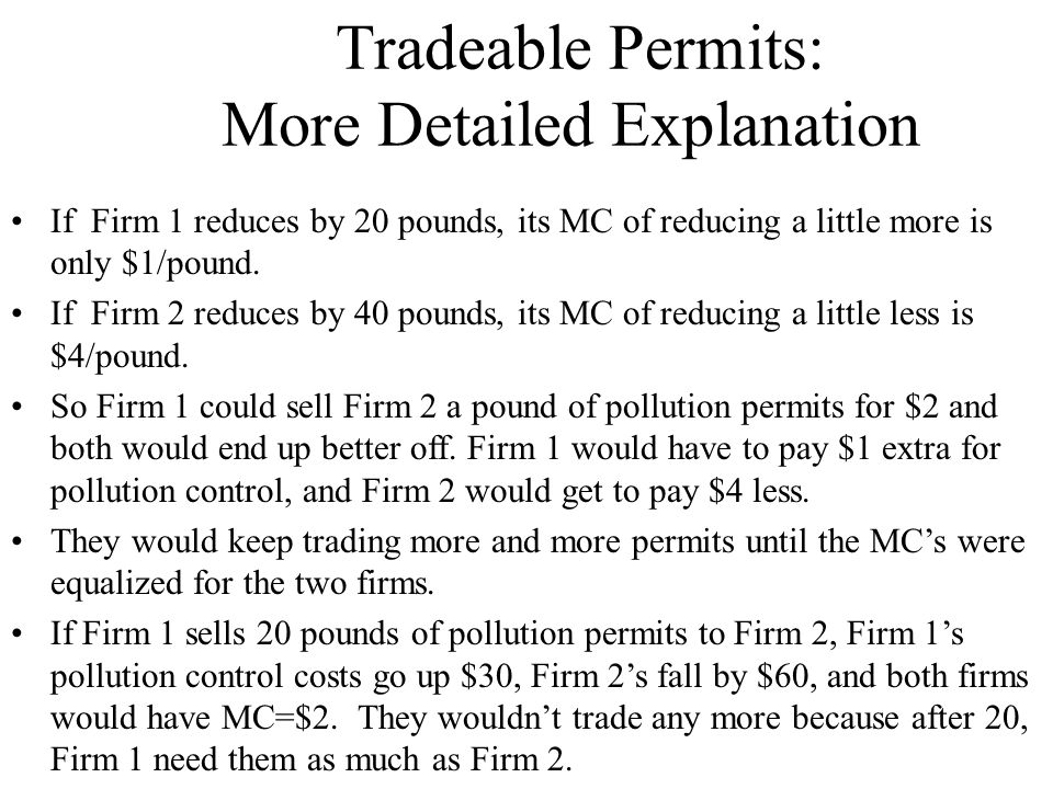 Tradeable Permits: More Detailed Explanation If Firm 1 reduces by 20 pounds, its MC of reducing a little more is only $1/pound. If Firm 2 reduces by 4