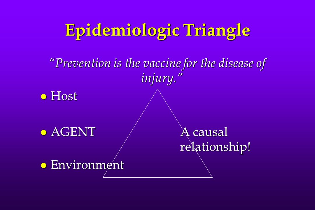 Epidemiologic Triangle Prevention is the vaccine for the disease of injury. l Host l AGENTA causal relationship! l Environment