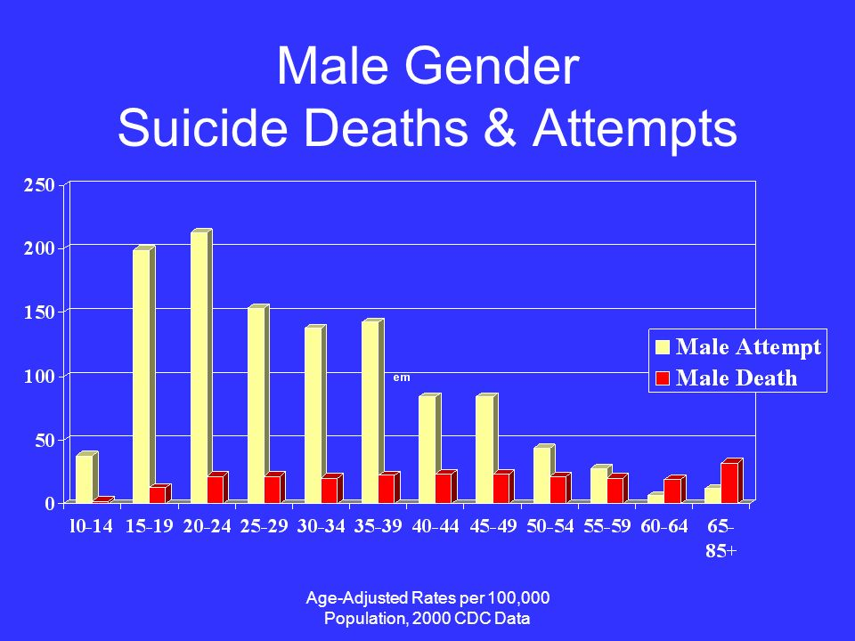 Age-Adjusted Rates per 100,000 Population, 2000 CDC Data Male Gender Suicide Deaths & Attempts