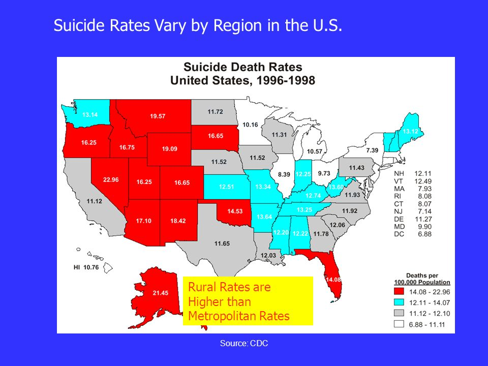 Source: CDC Suicide Rates Vary by Region in the U.S. Rural Rates are Higher than Metropolitan Rates