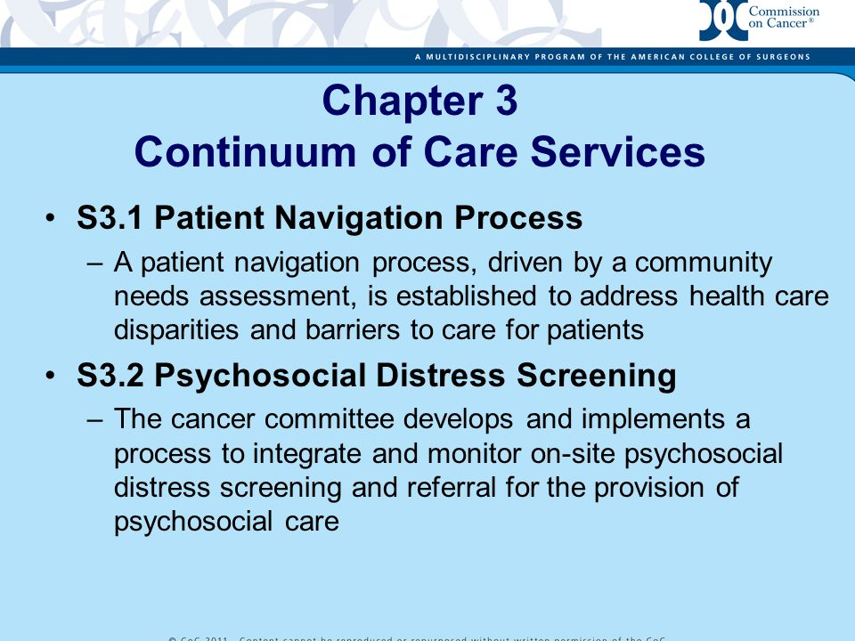 Chapter 3 Continuum of Care Services S3.1 Patient Navigation Process –A patient navigation process, driven by a community needs assessment, is establi