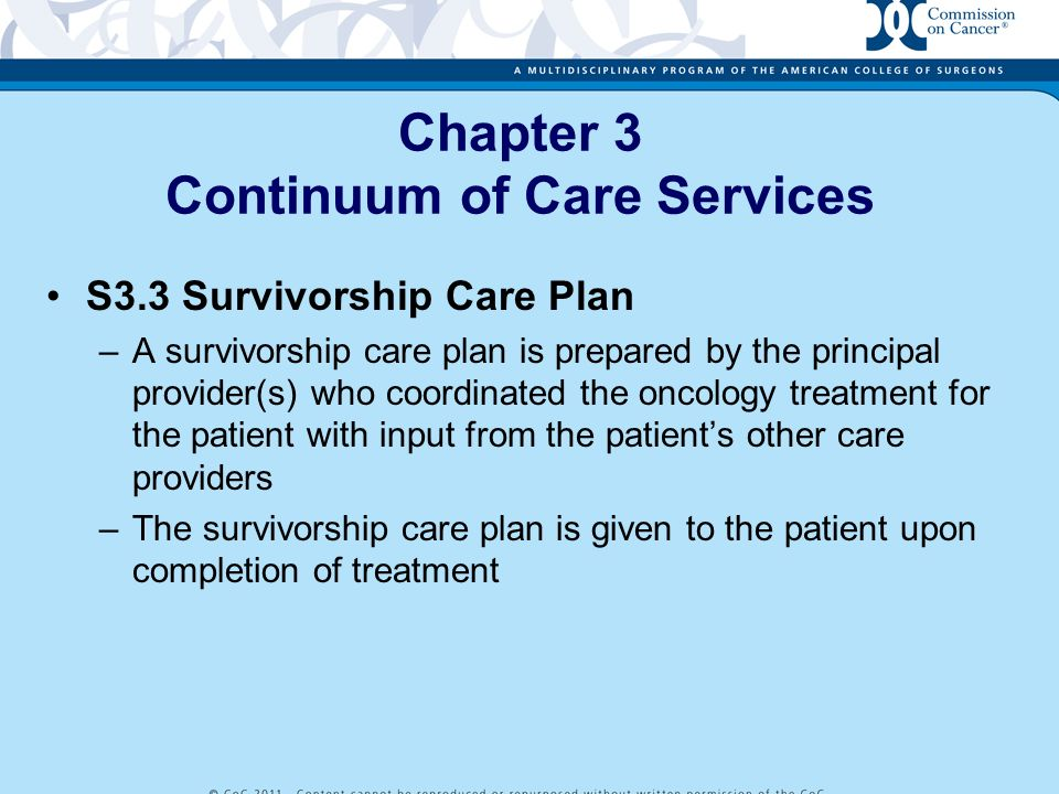 Chapter 3 Continuum of Care Services S3.3 Survivorship Care Plan –A survivorship care plan is prepared by the principal provider(s) who coordinated th