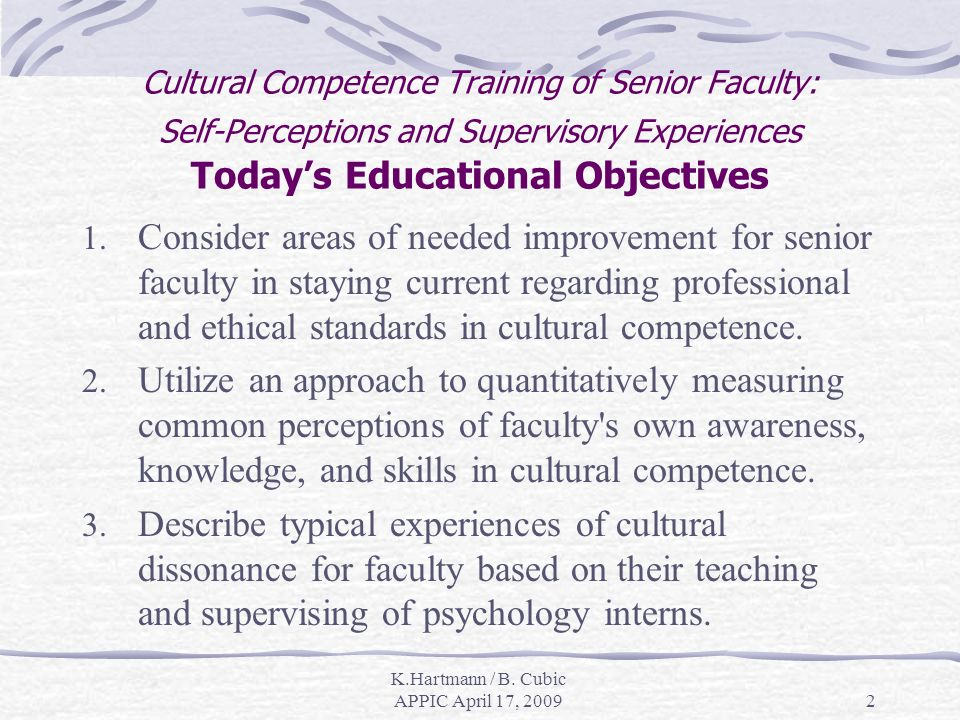 K.Hartmann / B. Cubic APPIC April 17, 20092 Cultural Competence Training of Senior Faculty: Self-Perceptions and Supervisory Experiences Todays Educat