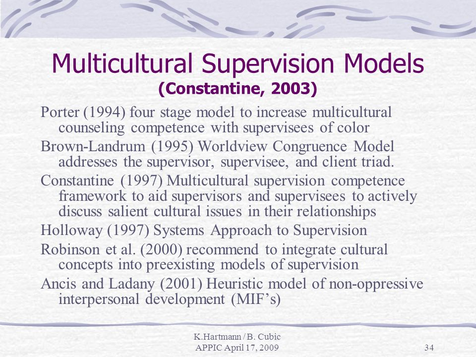 K.Hartmann / B. Cubic APPIC April 17, 200934 Multicultural Supervision Models (Constantine, 2003) Porter (1994) four stage model to increase multicult