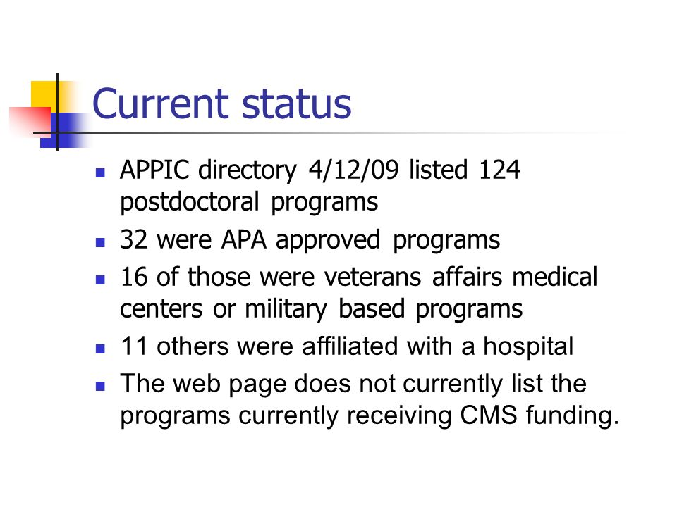 Current status APPIC directory 4/12/09 listed 124 postdoctoral programs 32 were APA approved programs 16 of those were veterans affairs medical center