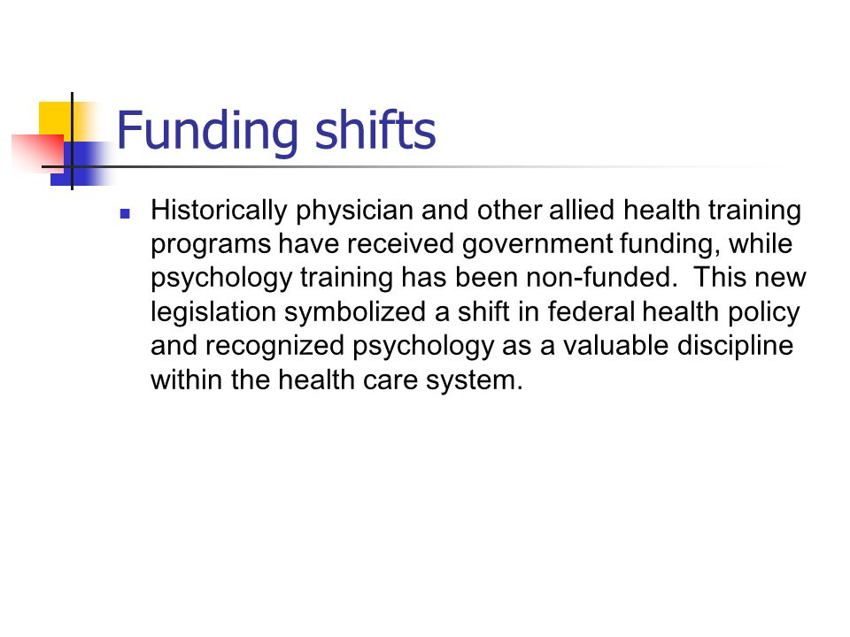 Funding shifts Historically physician and other allied health training programs have received government funding, while psychology training has been n