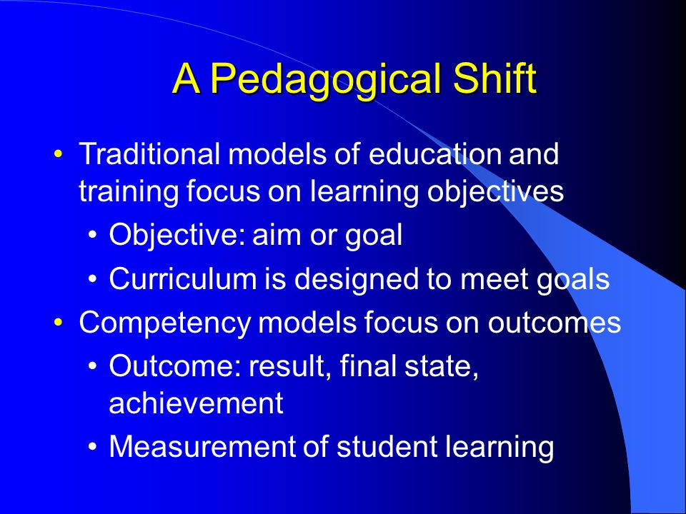 A Pedagogical Shift Traditional models of education and training focus on learning objectives Objective: aim or goal Curriculum is designed to meet go