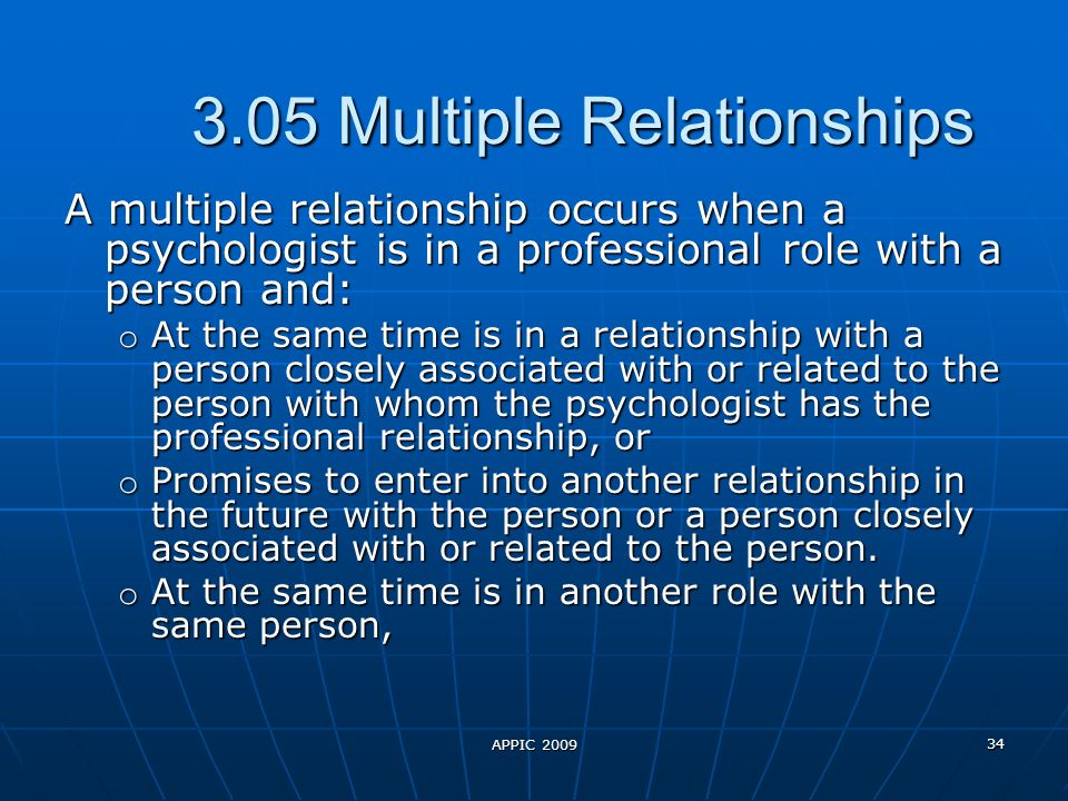 APPIC 2009 34 3.05 Multiple Relationships A multiple relationship occurs when a psychologist is in a professional role with a person and: o At the same time is in a relationship with a person closely associated with or related to the person with whom the psychologist has the professional relationship, or o Promises to enter into another relationship in the future with the person or a person closely associated with or related to the person.
