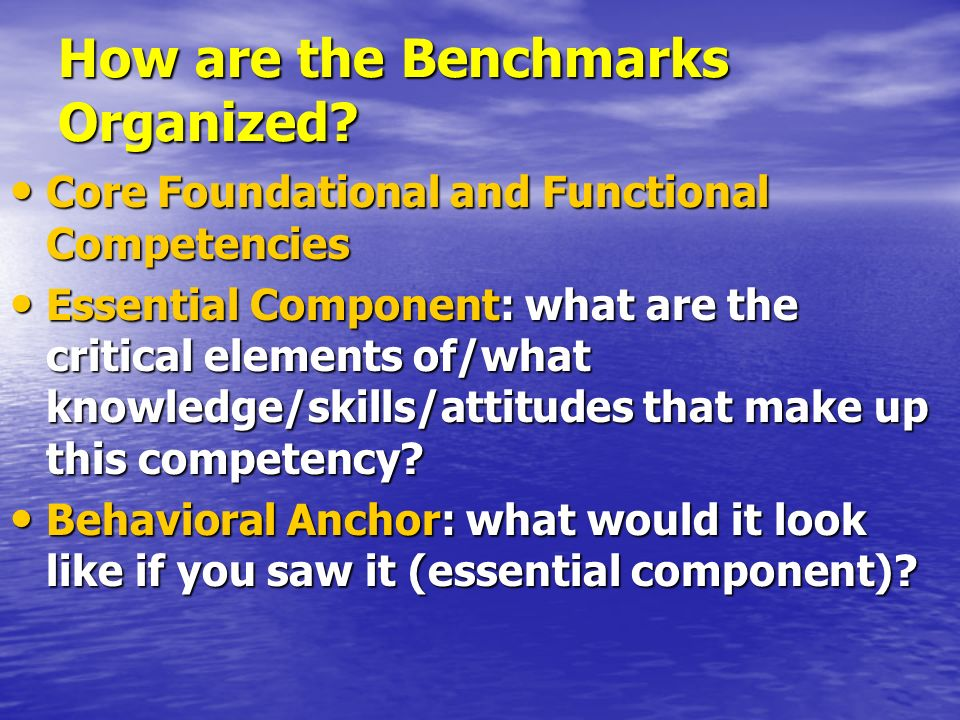 How are the Benchmarks Organized? Core Foundational and Functional Competencies Core Foundational and Functional Competencies Essential Component: wha