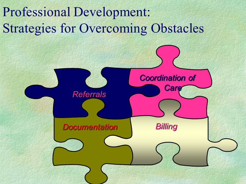 Professional Development: Strategies for Overcoming Obstacles Coordination of Care Billing Billing Documentation Referrals