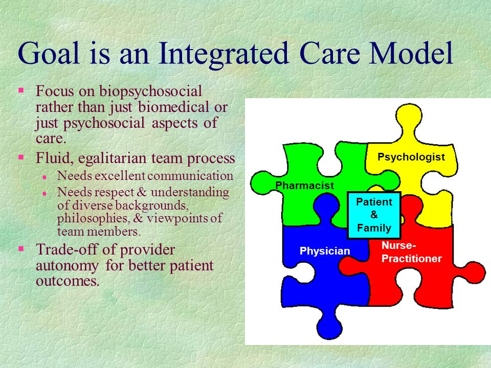 Goal is an Integrated Care Model §Focus on biopsychosocial rather than just biomedical or just psychosocial aspects of care.