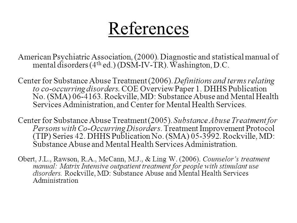 References American Psychiatric Association, (2000).