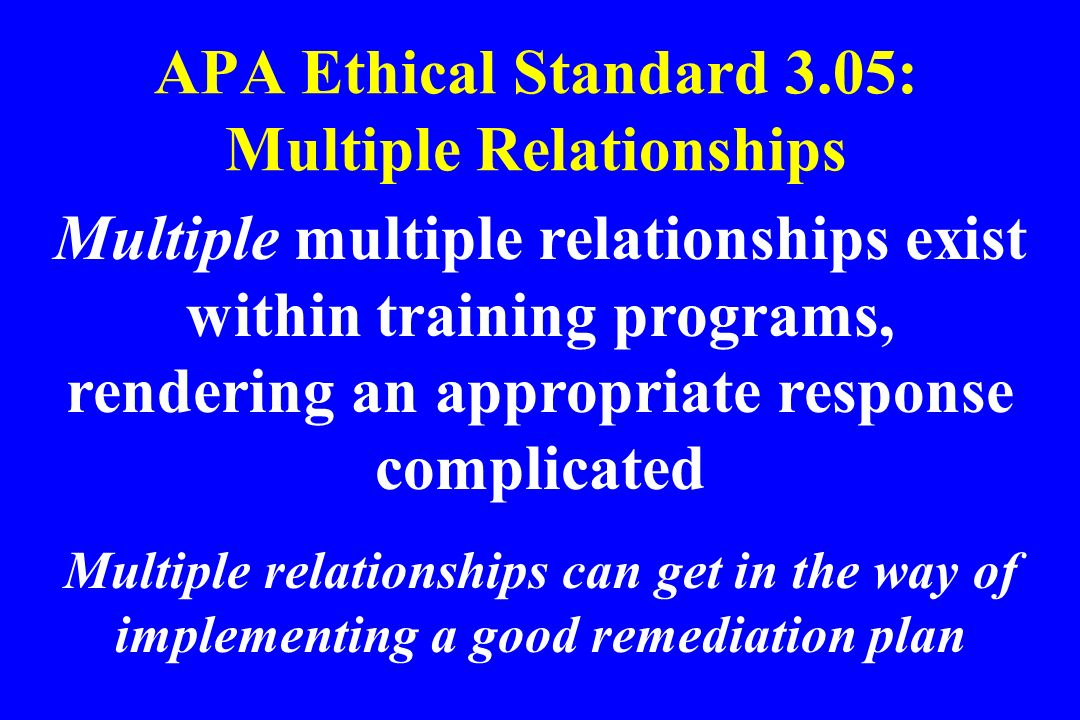 APA Ethical Standard 3.05: Multiple Relationships Multiple multiple relationships exist within training programs, rendering an appropriate response co