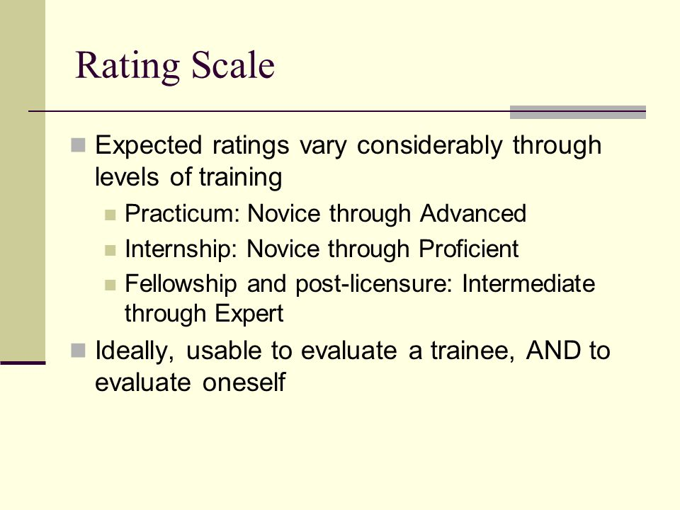 Rating Scale Expected ratings vary considerably through levels of training Practicum: Novice through Advanced Internship: Novice through Proficient Fe