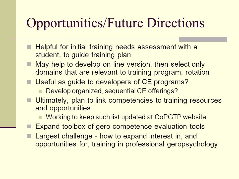 Opportunities/Future Directions Helpful for initial training needs assessment with a student, to guide training plan May help to develop on-line versi