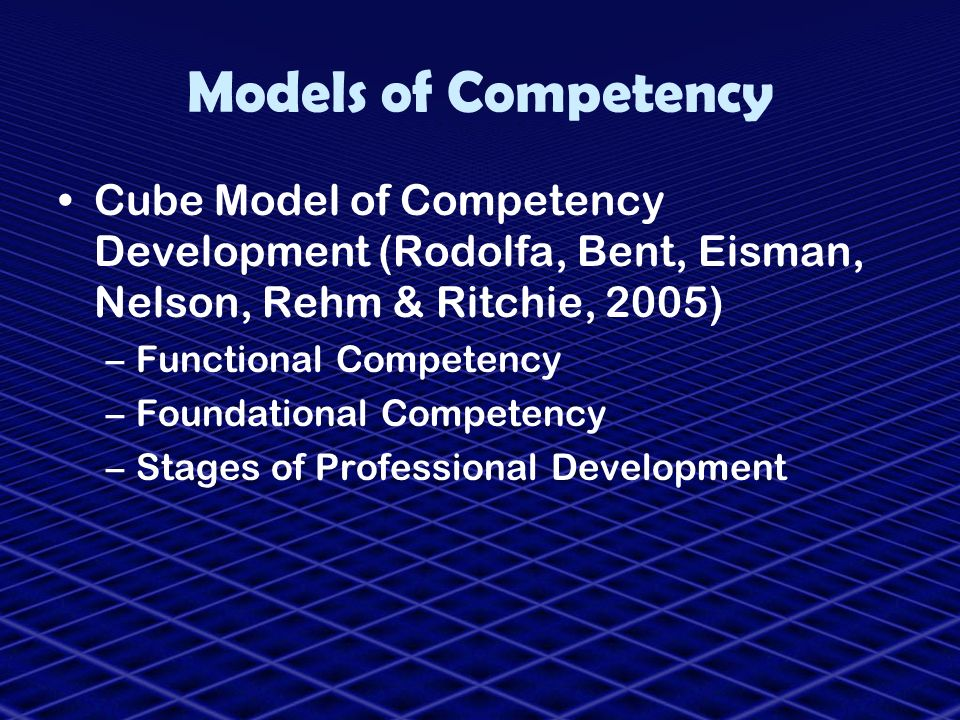 Models of Competency Cube Model of Competency Development (Rodolfa, Bent, Eisman, Nelson, Rehm & Ritchie, 2005) –Functional Competency –Foundational C