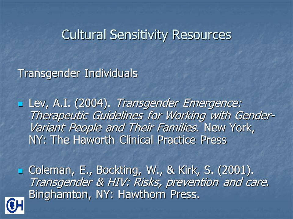 Cultural Sensitivity Resources Transgender Individuals Lev, A.I.