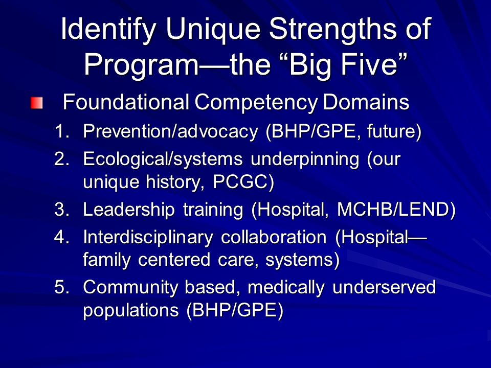 Identify Unique Strengths of Programthe Big Five Foundational Competency Domains 1.Prevention/advocacy (BHP/GPE, future) 2.Ecological/systems underpinning (our unique history, PCGC) 3.Leadership training (Hospital, MCHB/LEND) 4.Interdisciplinary collaboration (Hospital family centered care, systems) 5.Community based, medically underserved populations (BHP/GPE)