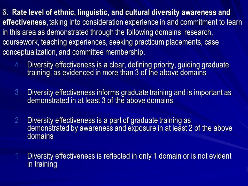 6. Rate level of ethnic, linguistic, and cultural diversity awareness and effectiveness, taking into consideration experience in and commitment to lea