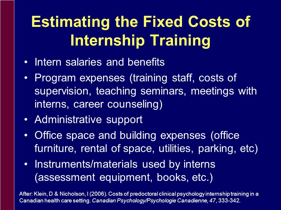 A Quick Review: Determining the Cost of Internship Training Fixed costs of internship training Loss/gains for both clinical service delivery and reimb