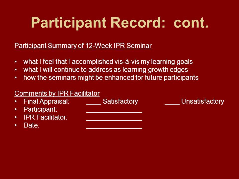 Participant Record: cont.