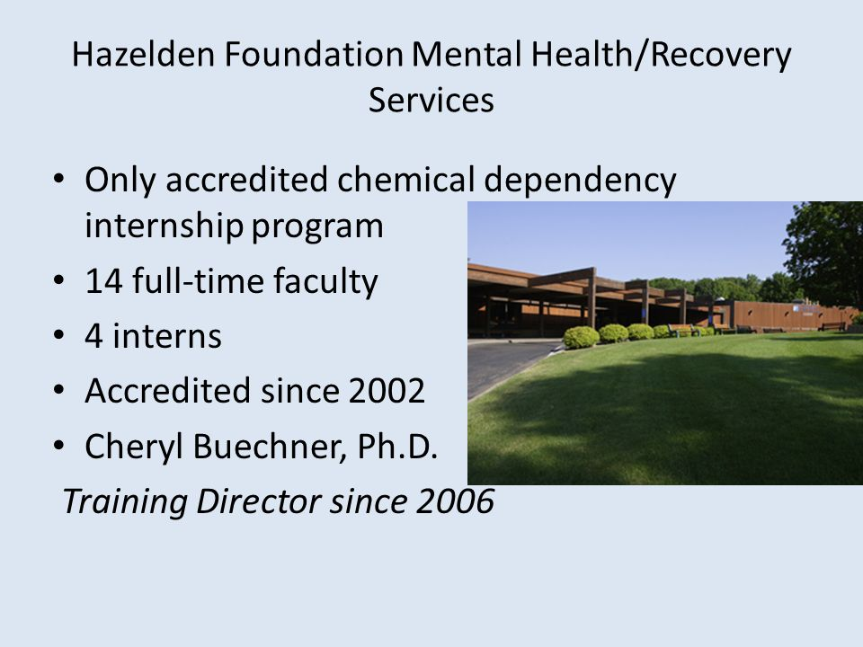 Hazelden Foundation Mental Health/Recovery Services Only accredited chemical dependency internship program 14 full-time faculty 4 interns Accredited s
