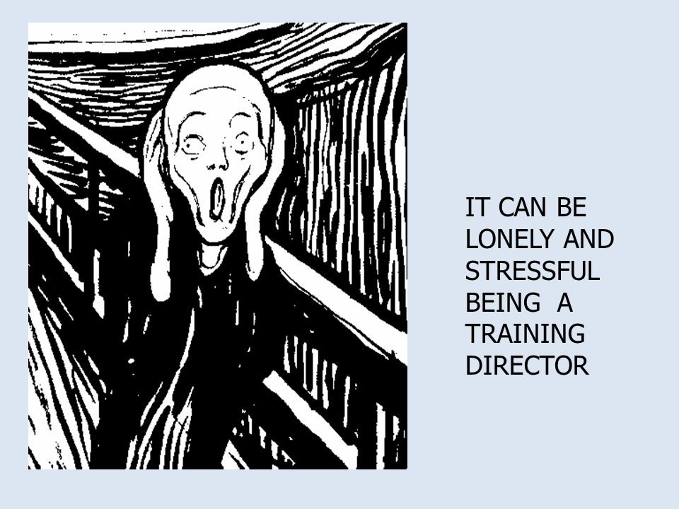 IT CAN BE LONELY AND STRESSFUL BEING A TRAINING DIRECTOR