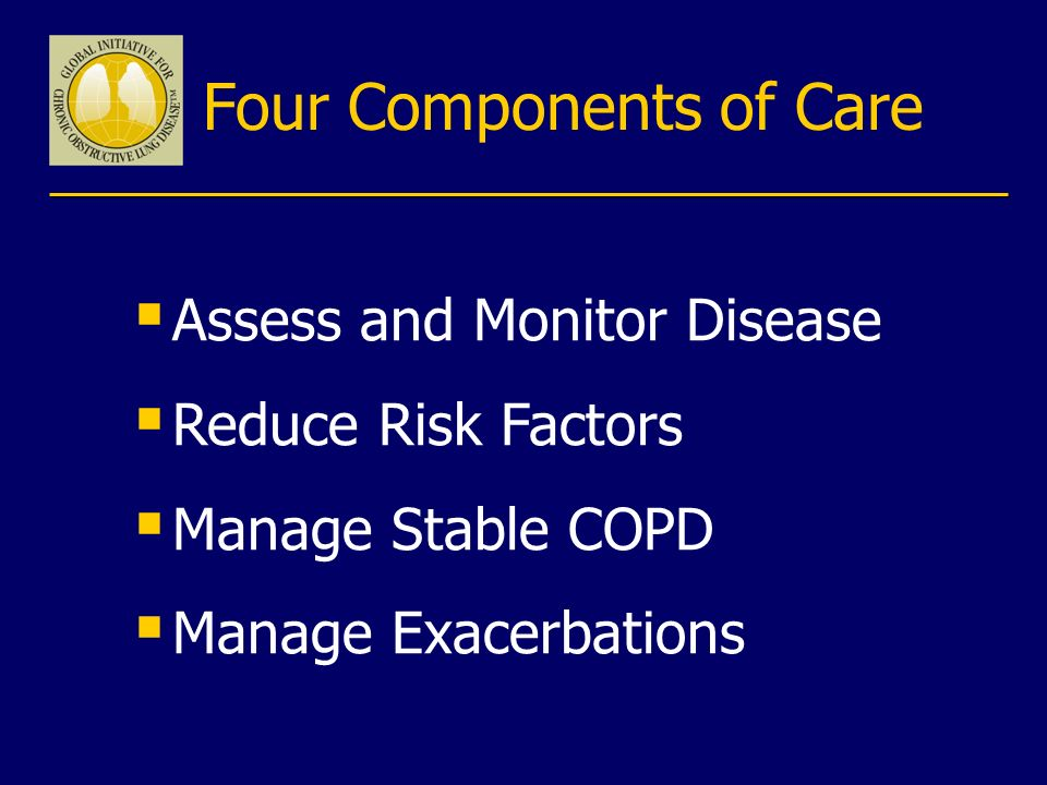 Four Components of Care Assess and Monitor Disease Reduce Risk Factors Manage Stable COPD Manage Exacerbations
