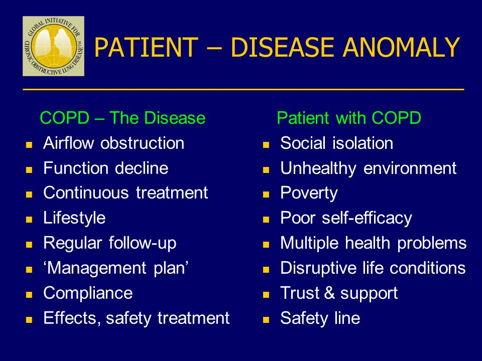 PATIENT – DISEASE ANOMALY COPD – The Disease n Airflow obstruction n Function decline n Continuous treatment n Lifestyle n Regular follow-up n Managem